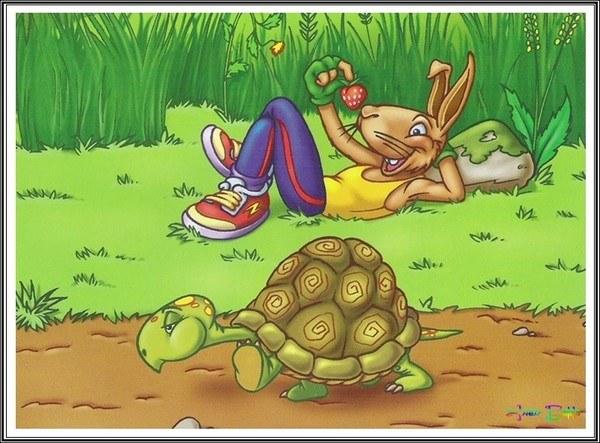 thỏ tự cao nghỉ chân trong chuyện thỏ và rùa