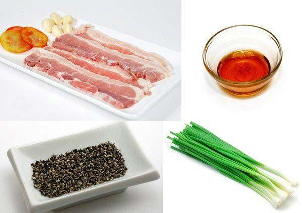Nguyên liệu cho món thịt ba chỉ rang