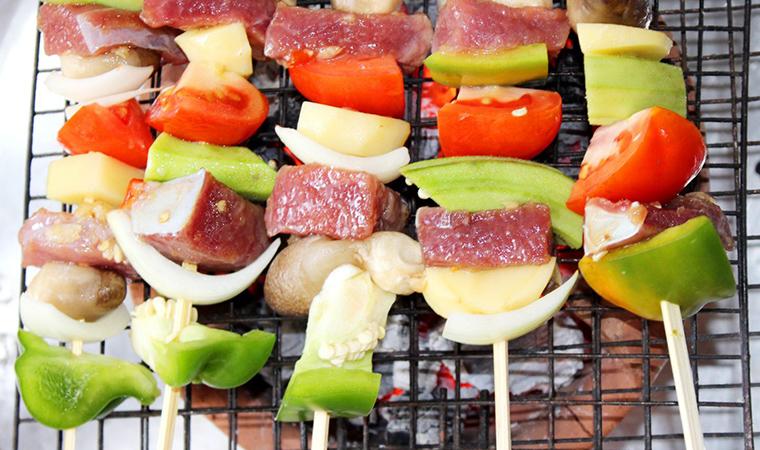 cách làm thịt xiên nướng rau củ
