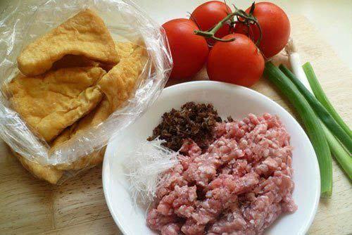 Nguyên liệu làm đậu phụ nhồi thịt