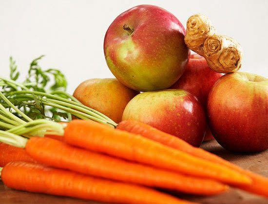cách làm sinh tố táo cà rốt.