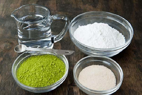 Một số nguyên liệu làm bánh mochi trà xanh