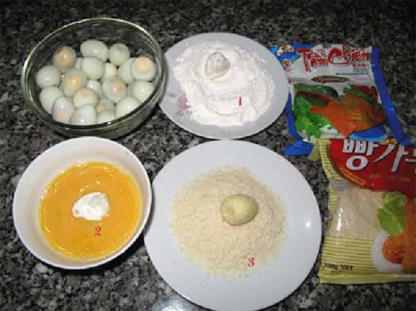 Các bước làm trứng cút chiên xù