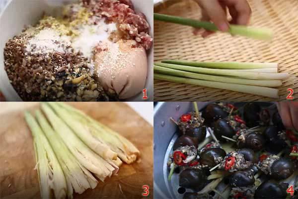 Hướng dẫn cách làm ốc nhồi thịt hấp sả