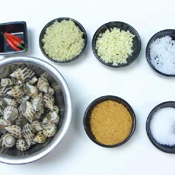 Nguyên liệu làm ốc hương rang muối ớt