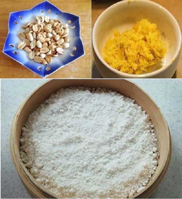Sơ chế lạc, gừng và bột gạo nếp
