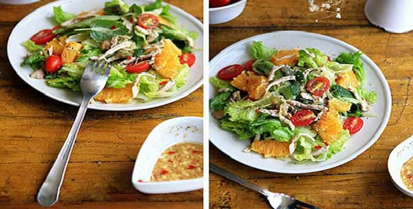 Trộn salad gà cay và thưởng thức