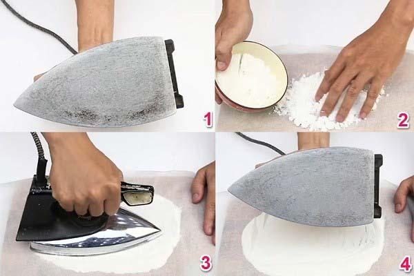 Làm sạch vết bẩn trên bàn ủi