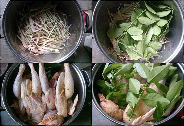 Luộc gà bằng sả và lá chanh