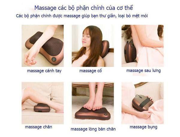 Gối massage Royal có thể sử dụng cho nhiều bộ phận trên cơ thể