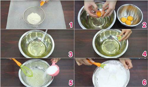 Bước 1 : cách làm bánh bông lan bằng nồi cơm điện