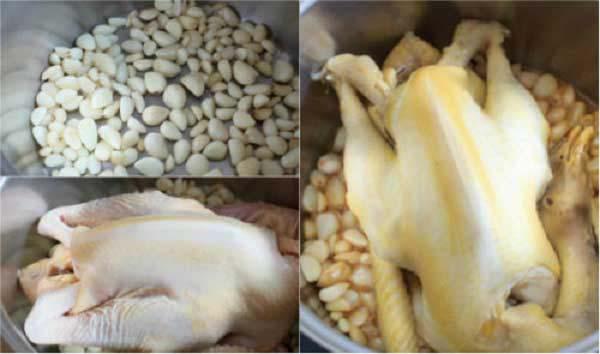 Cách luộc gà bằng tỏi