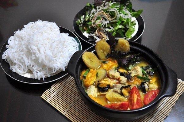 nấu món ốc chuối đậu thịt ba chỉ