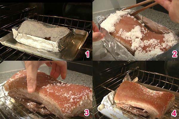 Nướng thịt trong lò nướng 40-50 độ C rồi bỏ phần muối phủ trên da heo