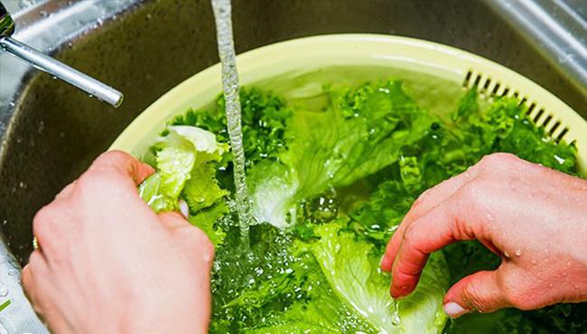 Nhặt và rửa rau sống