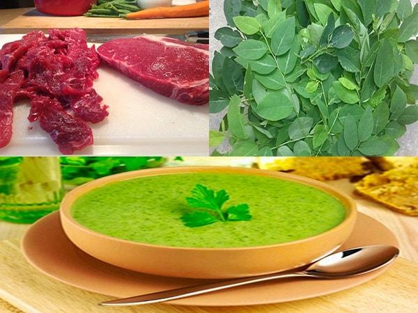 nguyên liệu cháo thịt bò rau ngót