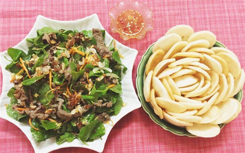Cách làm món nộm rau má thịt bò