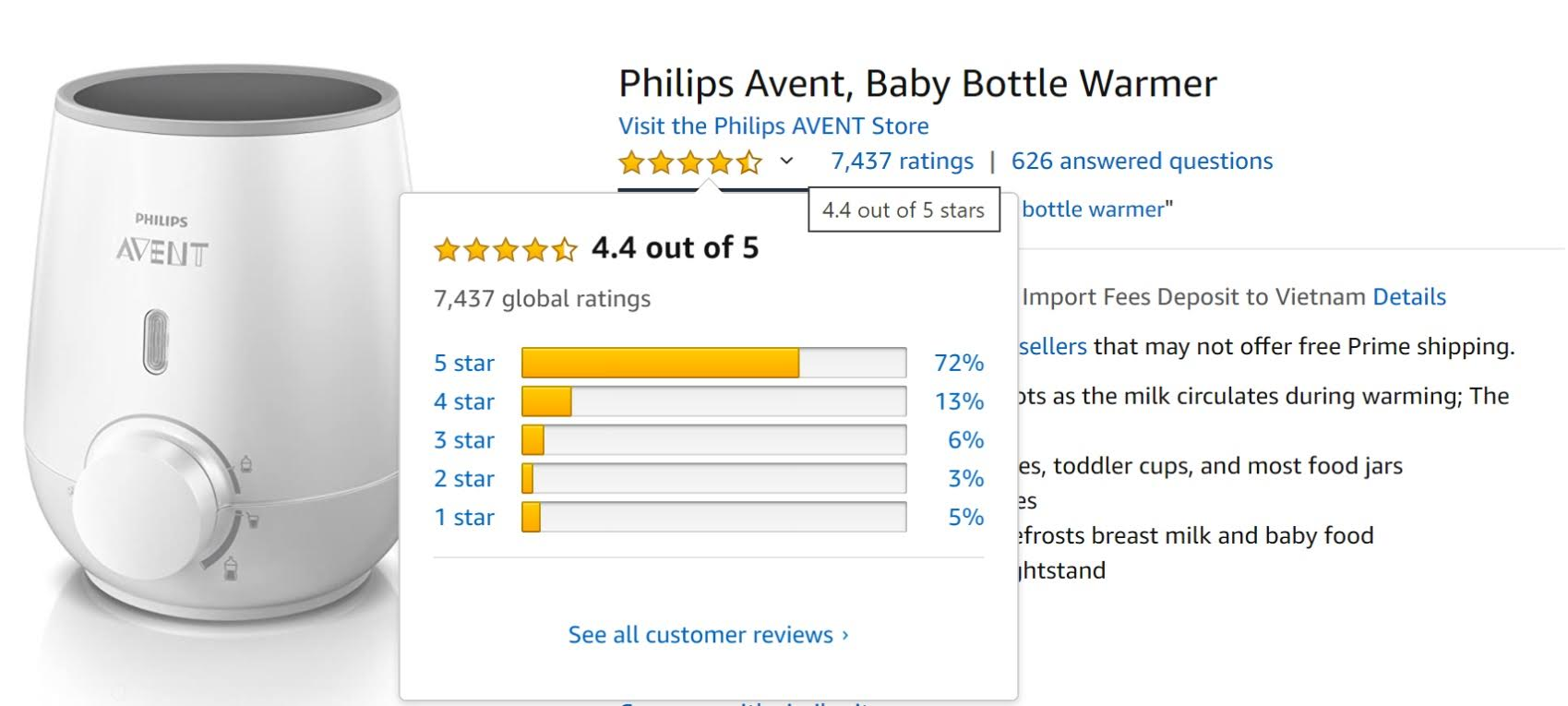 Đánh giá của khách hàng khi sử dụng máy hâm sữa Avent