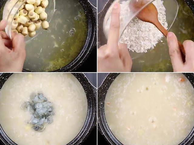 nguyện liệu nấu cháo tôm hạt sen cho bé